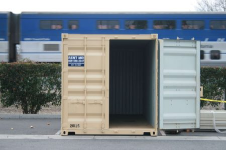 interior view of storage container with train in background