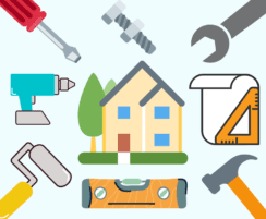 graphic of home surrounded by different construction tools